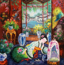 Colorful Interior with Ming Qing Dynasties Lady Napping Tranditional Chinese Handmade Oil Painting on Canvas