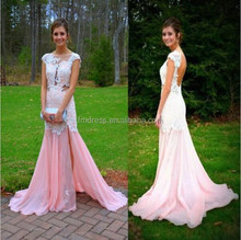 Charming 2015 mermaid Prom dresses pink chiffon cap sleeves sexy backless lace evening gown fmg05