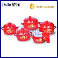 Golden flower decal kitchen cookware set/microwave casserole sets/enamelware cookware set