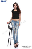 Wholesale Bangkok d Jeans Women Low Rise Ripped Torn d Jeans Sexy Girls Bleached Skinny Jeans