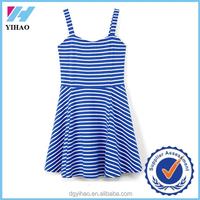 Yihao new arrival Fashion women summer sleeveless 2015 summer stripes Mini Dress clothing