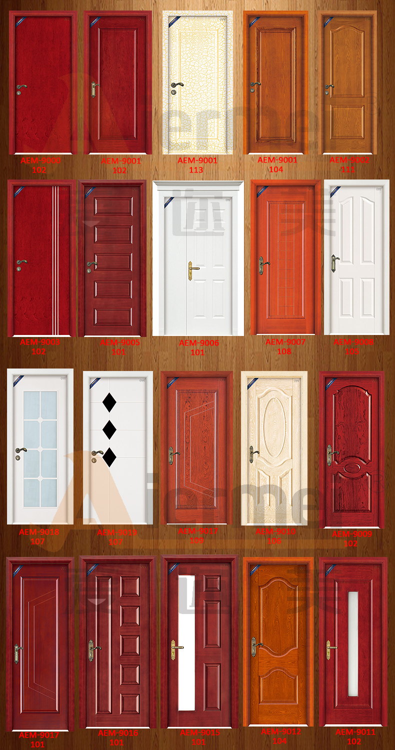 Simple india door natural veneer wooden single door for Door design catalogue in india