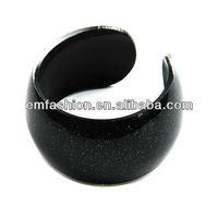 Fashion cheap plain acrylic cuff bangle glitter acrylic bangle many colors are available