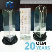 Factory price cheaper restaurant menu table tent trihedral acrylic sign holder for menu rotating display acrylic material