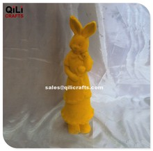 Wholesale Cartoon Easter Rabbit girl with flower, Yellow flocked bunny decoration