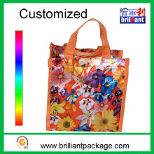 Customized print pattern ladies nylon shoulder shopping tote bag with zipper