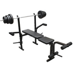 Multi Function Weight Bench W282A Home Gym Equipment Upper/Lower Body Workout ABS Leg Bar Preacher Curl