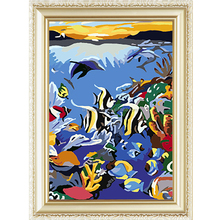 Fishes design sea world diy menglei painting by numbers for wholesale
