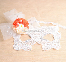 Wholesale Venetian White Lace Gril Carnival Masks Colorful With Flower
