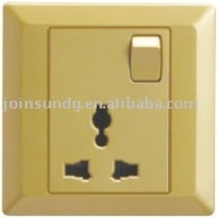Industrial wall power socket with 1 gang switch