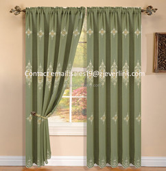 Hot-sell semi-blackout finished macrame curtain, embroidery window curtain