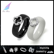 high quality black and white two color ceramic ring for lover