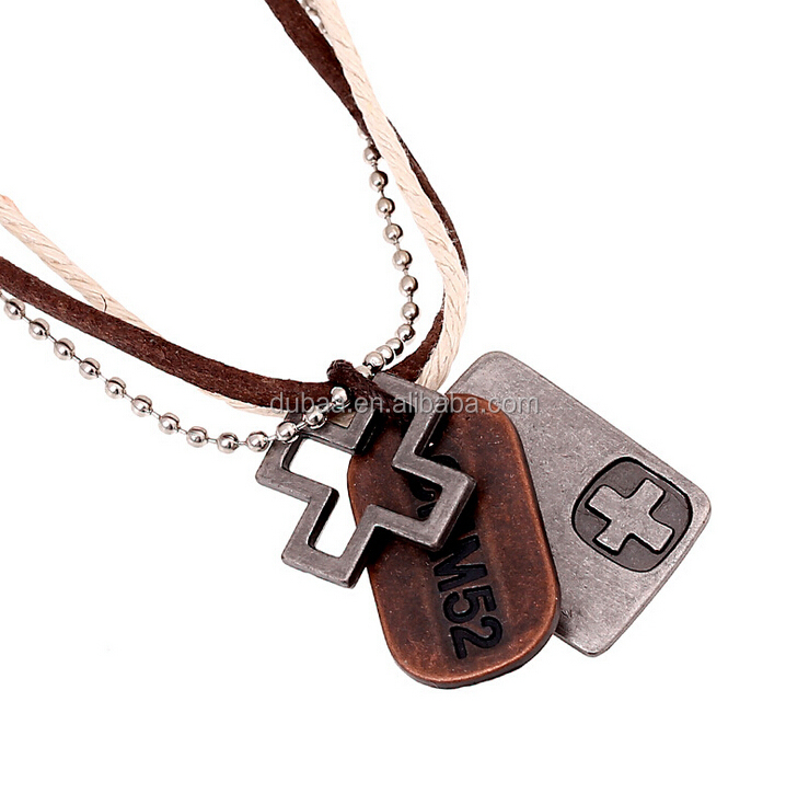 cool cross pendant genuine white brown leather choker