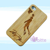 low price customized bamboo skin phone case