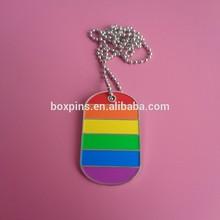 Rainbow color design LGBT dog tag gay pride necklace(Box-- dog tag -274b)