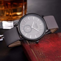 Trendy Japanese Movement 2035 Genuine Leather Quartz Watches Men Hour Time