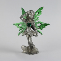 Pewter standing fairy figurine with heart stone
