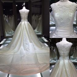 TH-7791JL royal elegant wedding dress with cap sleeve fashion wedding dress from Guangzhou wedding dress factory