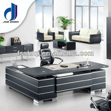 office table executive ceo desk office desk made by PU leather MDF board Stainless steel for office furniture