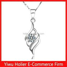 Hot sale angel wing 925 sterling silver zircon charm pendant