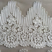 Wholesale white 100polyester Saree Embroidery bridal lace trim