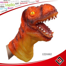 Wholesale realistic rubber dinosaur hand puppet,high quality pvc soft platic hand puppet for kids