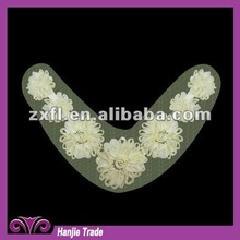 Yellow Embroidery Flower Lace Trims Collar for garment