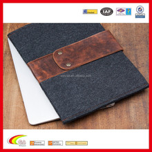 Deep Grey Fashion Design Metal Button Closure Wool Felt Tablet Case, Durable Luxurious Genuine Leather Felt Sleeve Wholesale