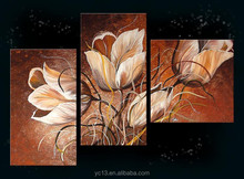New High Quality Beautiful Decoration oil Painting,3pcs panel group handmade flower oil painting