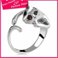 2016 New design cheap jewelry for lovers silver plated little cat alloy fashion gay men ring