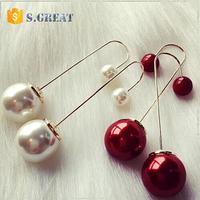long saudi one gram gold jewelry earrings fashion designs new model double sided pearl earring