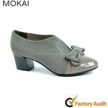 Mk084-1 mais novo cinza bowknot vestido sapatos sapatos gentlewoman salto baixo