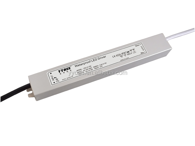 constant current led driver 21W waterproof IP67 240/350/500/700ma with 5 years warranty CE RoHS CCC EMC YSC-21-350