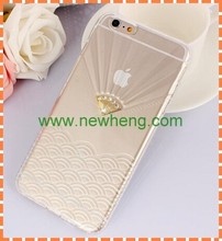 Newest Transparent Diamond Crown Pattern Jelly Soft TPU Case For iphone6