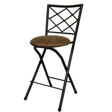 "Diamond X-Back Folding 24"" Counter Stool, Bronze with Beige Microfiber Cushion"