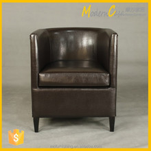 Solid wood frame upholstery leather tub chair