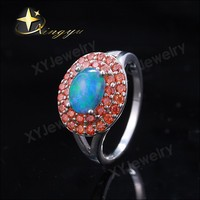 Fashion newest oval light blue opal ring with ruby cubic zircon XYR300341