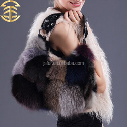New Arrival Fashion Bags Color Mixture Genuine Animal Raccoon Fur Leather Women Designer Handbag