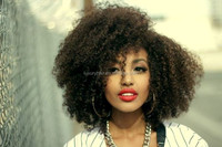 New Style 100% Human Hair 16 inch Afro Kinky Curly Indian Human Hair Full Lace Wig