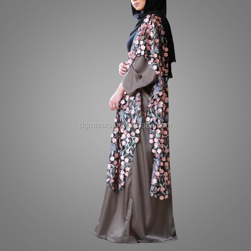 muslim dress for ladies wholesale islamic products  lace flowers details open abaya kimono in dubai  (3).jpg
