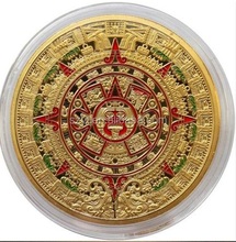 China made custom challenge old gold coin /mayan aztec long count calendar coin
