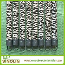 SINOLIN PVC coating wooden broom stick zebra-stripe cover for broom