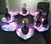 tabletop hearted shape acrylic /plexiglass acrylic led beer bottle holder