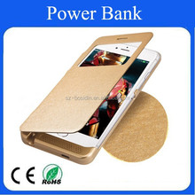 Natural silk leather cover of portable power bank for Iphone 6