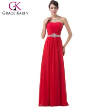 2015 Elegant latest designer evening gowns popular style long red color evening dress CL6229