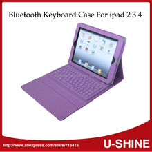 New Style Portable Wireless Bluetooth Keyboard Leather Case for iPad 4 3 2 1