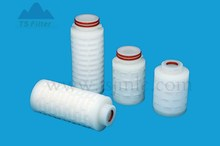controlled porosity graded density depth media mini filter cartridge for paiting solution