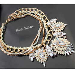 European and American luxury exquisite gemstone necklace gold necklace