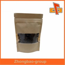 Small customized kraft paper bag with window and zipper for plant food from china good supplier