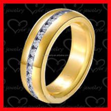 Gold stainless steel ring cz setting by hands
